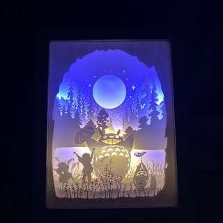 Totoro 3D Paper carving / cut night light