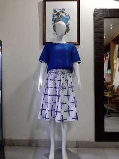 Crop top and shibori skirt