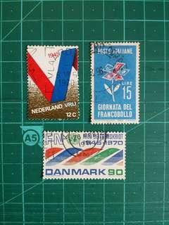 [贈品]1960-70年代 意大利/丹麥/荷蘭 紀念舊票三套