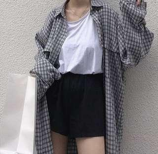 lone oversized checked shirt dress