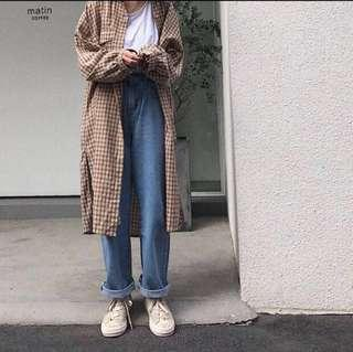 long oversized checked shirt dress