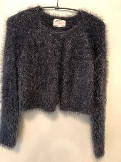 🚚 Zara鐵灰色毛毛亮片小外套