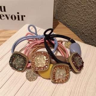 新款糖果色球甜美精緻玻璃水鑽丸子頭髮圈皮筋韓國髮飾