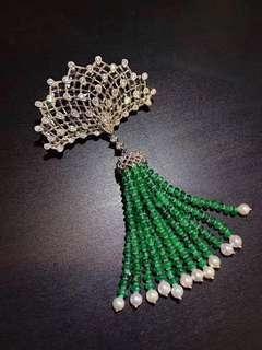 奢華極至! 綠寶石鑲鑽胸針吊墜兩用款!