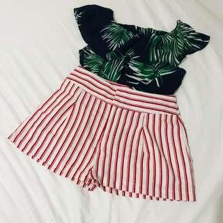 F21 Red Stripes High Waist Shortss
