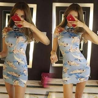 Modern Blue Colour Cheongsam with Printed Graphic