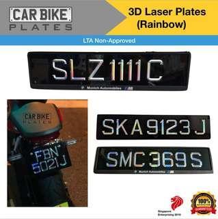 3D Car Plate Laser Cut Holographic Design