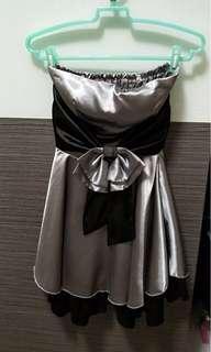 🚚 銀灰色洋裝露肩洋裝加小外套參加婚宴喜慶