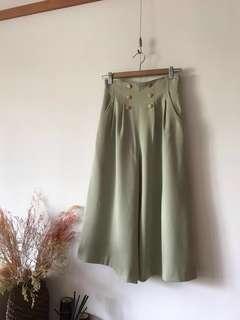 日本製 木釦高腰寬褲裙vintage
