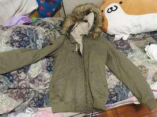 Roxy 軍綠外套 毛毛 保暖