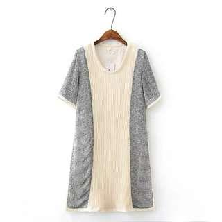 (NEW with tag ) Korea style grey dress 韓國風灰色清爽皺摺裙