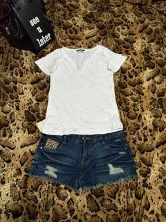 🚚 💯全新SOME ONE 💋豹紋牛仔熱褲💋