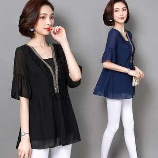 🚚 [ L - 5XL ] Plus Size Korean Blouse (Pre Order)