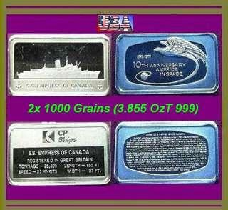 👉 USA - 2x 1000 Grains (3.855 Oz. T 999) Fine Silver Ingot art bars