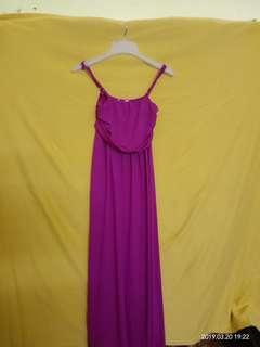 BEGA Long Purple Spaghetti Strap Dress
