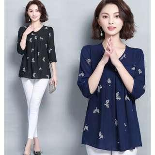 🚚 [ L - 5XL ] Plus Size Korean Printed Blouse