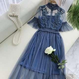2 in 1 Blue Simple Lace Dress