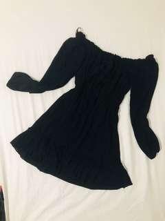F21 Summer Black Off-Shoulder Dress
