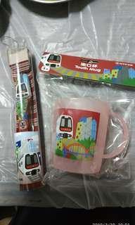 🚇港鐵列車👧👦兒童牙刷漱口杯套裝 (New)