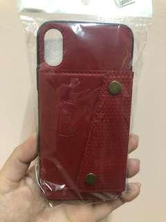 Red Leather iPhone X Case with Card Pocket