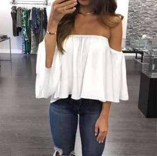 🚚 (PO) S-5XL Fashion Women Off Shoulder Top Long Sleeve Pullover Casual Blouse Hals Langarm Chiffon