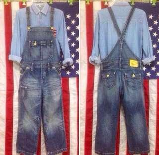 🚚 Vintage Distressed Washed Denim Levis Dungarees Workwear Overalls