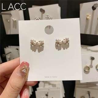 韓國東大門進口新款蝴蝶結珍珠耳環時尚個性氣質百搭耳墜女耳環