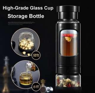 Brand new 👍🏻High End Glass Bottle with protector and Cup