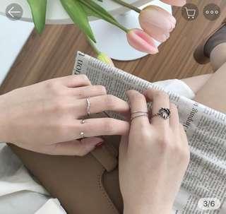 🚚 愛心麻花 戒指5件組