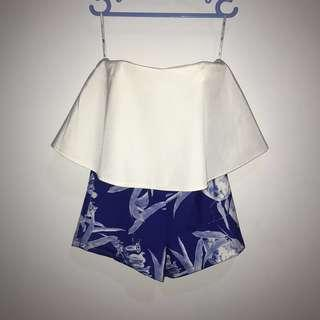 Mds mini jumpsuit blue and white romper double layer
