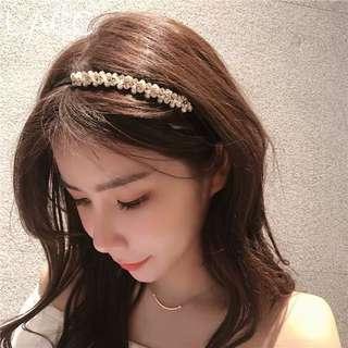 韓國東大門進口珍珠奢華水晶甜美壓髮髮箍卡女士氣質時尚頭箍飾