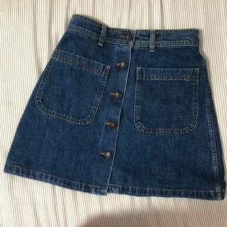 ZARA Button Down Denim Skirt