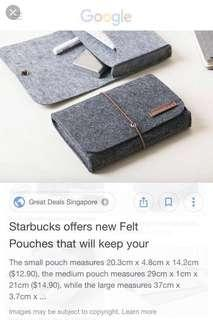 Authentic STARBUCKS Felt Pouch SMALL only
