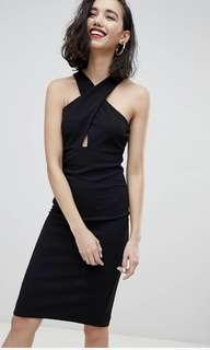 Bodycon dress with cross over halter neck in black