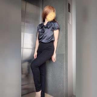 Black Polka Dot Blouse / Blus Hitam Bintik