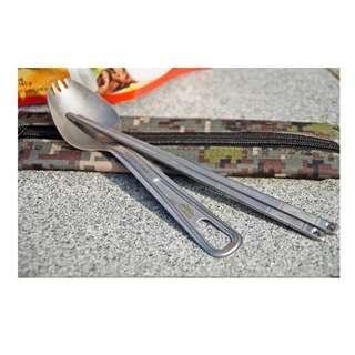New! 全新 戶外 露營 鈦金餐具(筷子+ 叉匙) camping outdoors hiking titanium spork chopsticks made in Korea 韓國製造