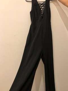 Black V neck jumpsuit