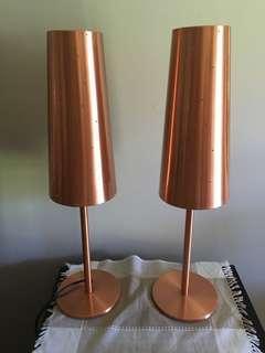 Copper finish Art Deco lamps