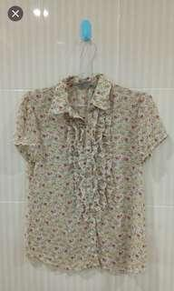 Blouse Floral Ruffle
