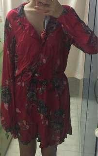 🚚 [INSTOCK] Red Floral Jumpsuit