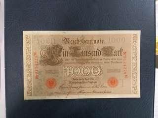 德國馬克191O年連号2張Unc品相。80元x2共160元