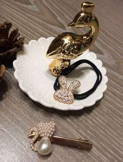 (💝優惠加購$160)♥️韓款 兔子珍珠鑽髮圈、珍珠貓咪壓夾🈴️售