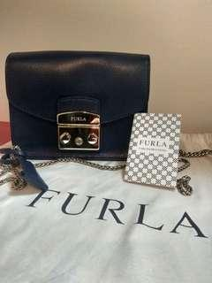 Authentic Used Furla Metropolis Navy, dustbag, care card