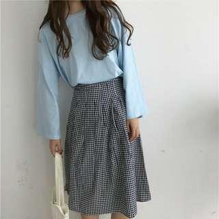 Korean Sky Blue Long Sleeve Blouse