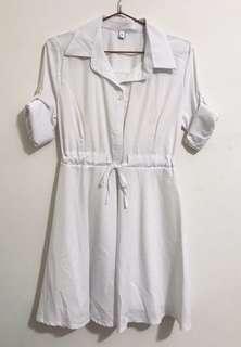 連身襯衫-白