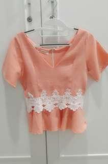 Chocochips Peach Lace Top