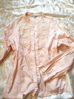 🚚 Chavana 夏梵納 粉色 長袖襯衫 40號