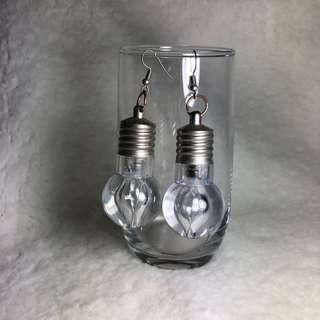 🚚 Working Light Bulb Glass Earrings