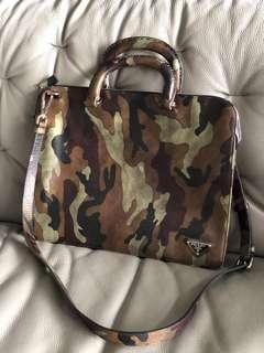 Prada camou saffiano leather bag