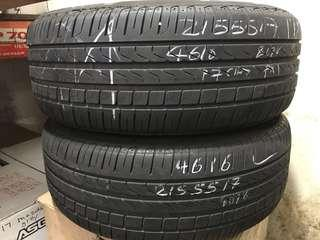 215/55/17 pirelli p7 used tyre 2pc only 1pc $50